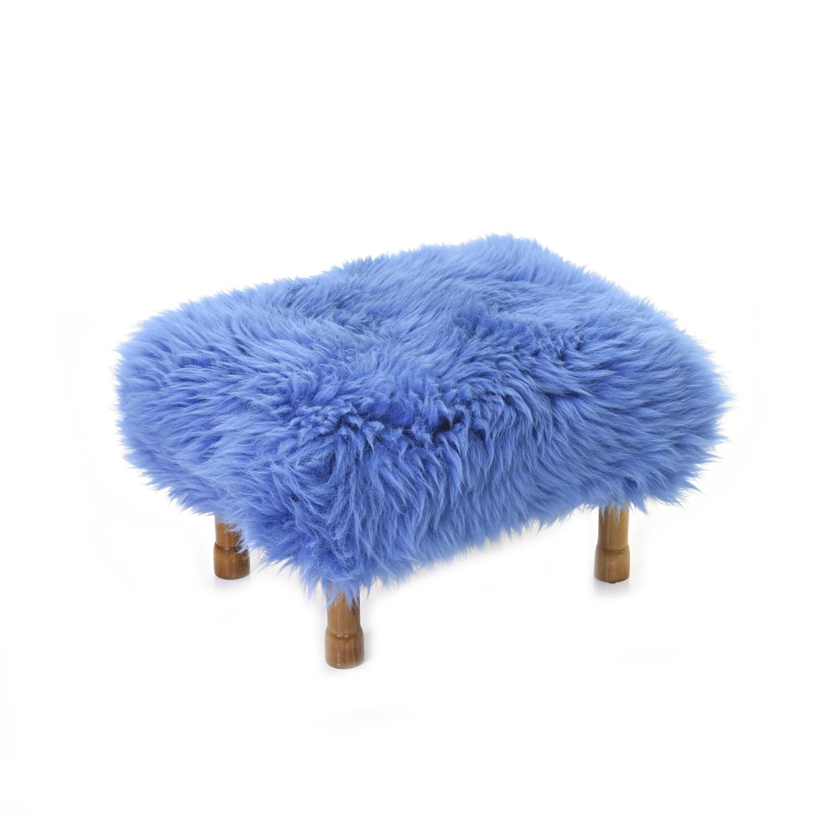 Delyth Sheepskin Footstool Cornflower Blue