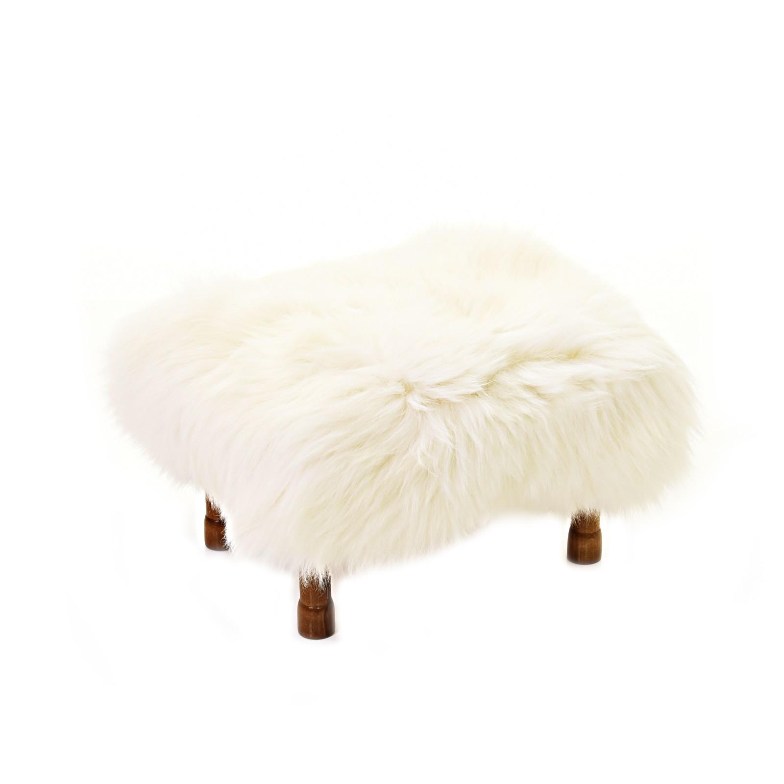 Delyth Sheepskin Footstool Ivory