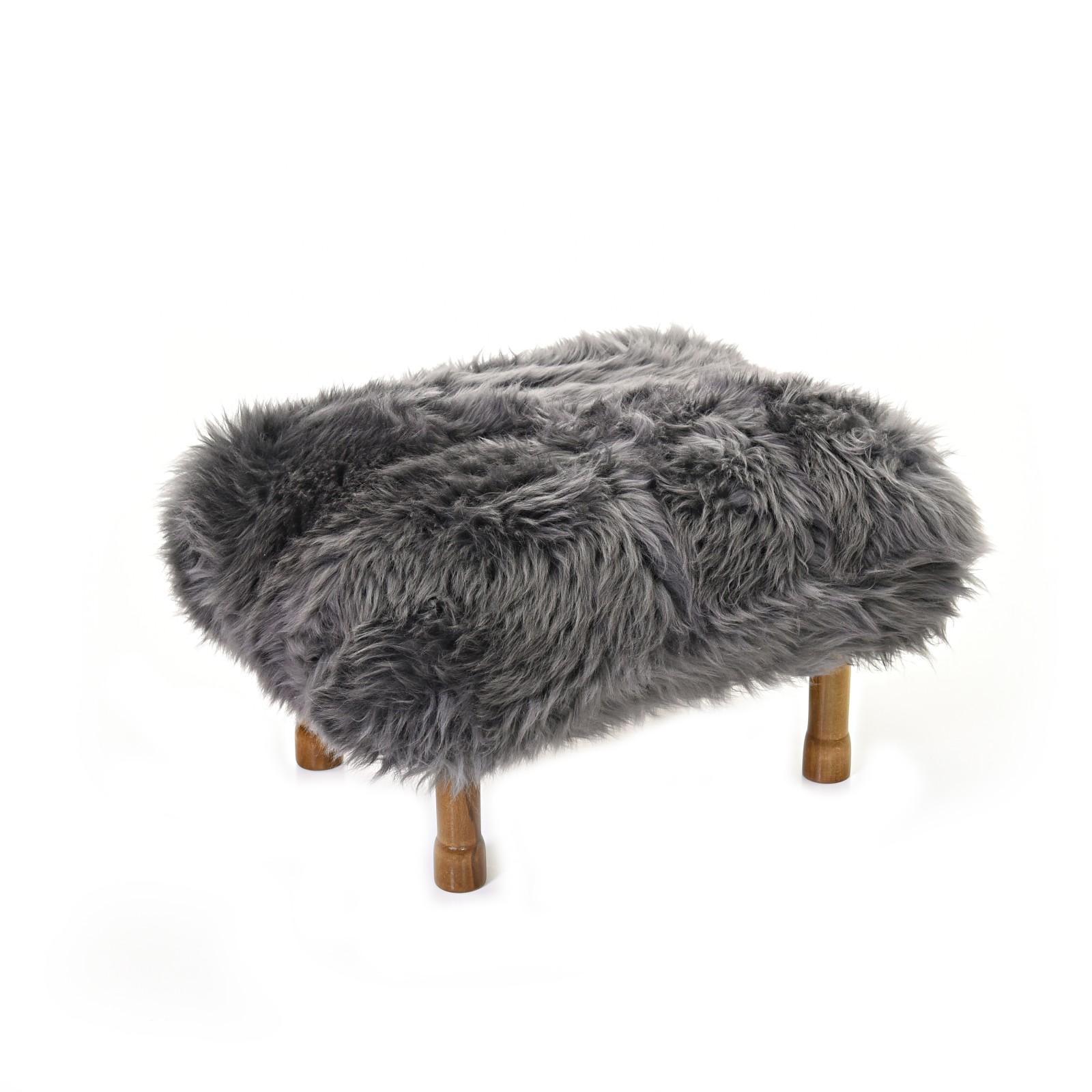 Delyth Sheepskin Footstool Slate Grey