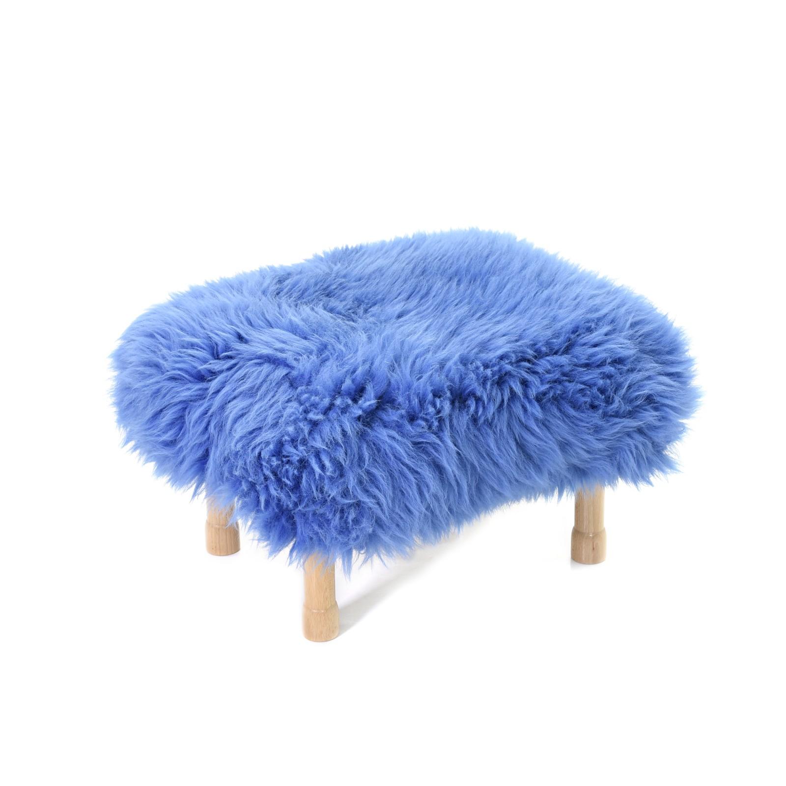 Dilys Sheepskin Footstool Cornflower Blue