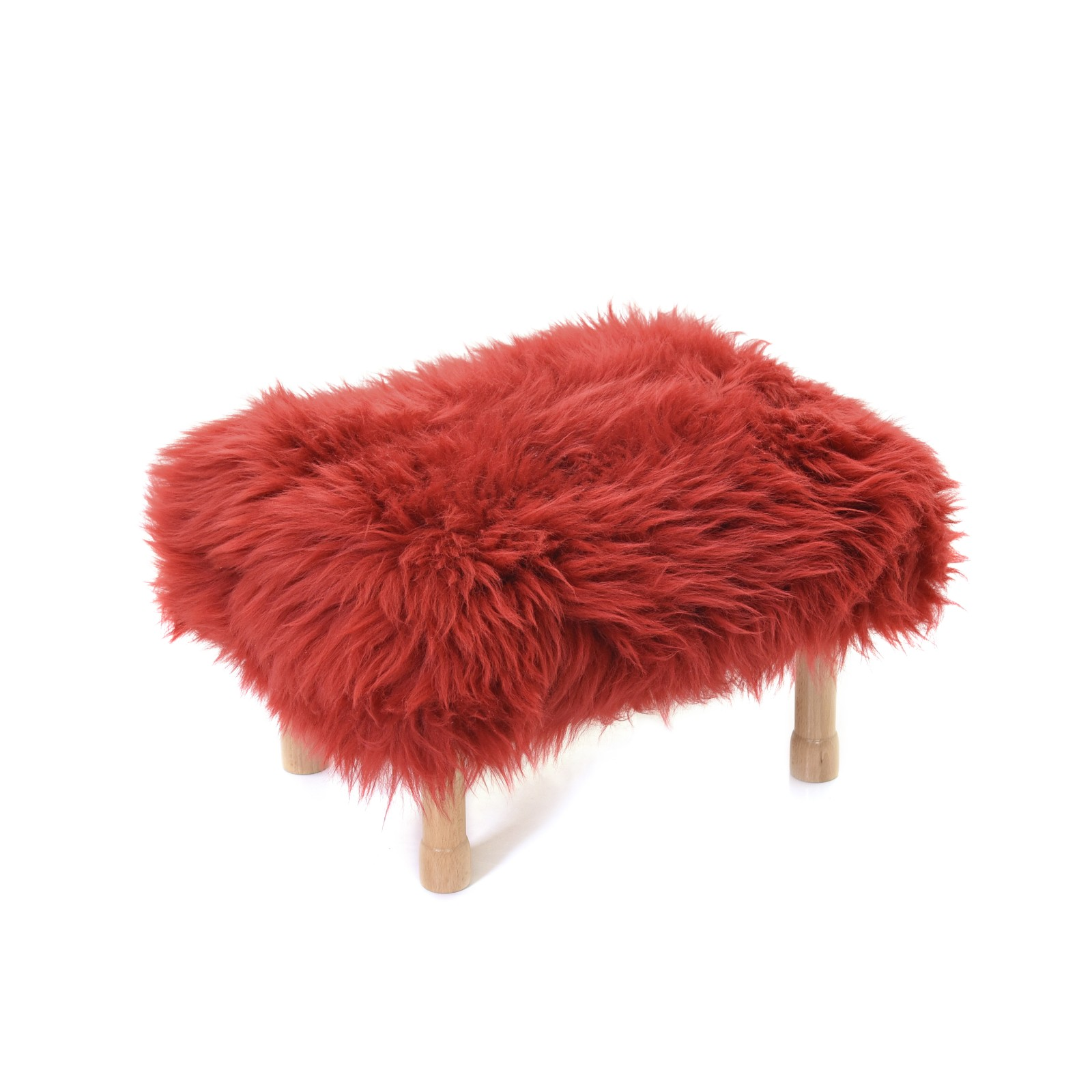 Dilys Sheepskin Footstool Dragon Red