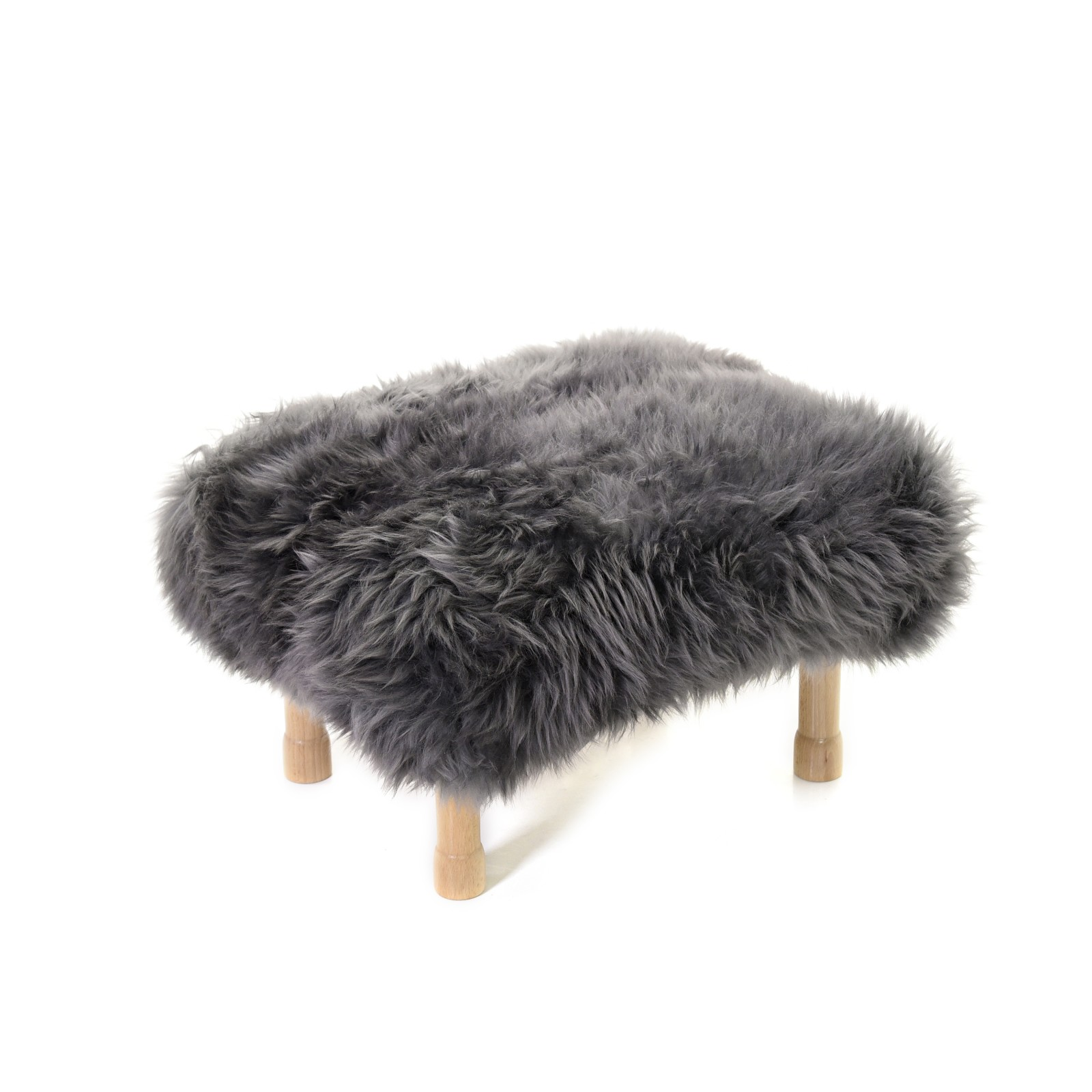 Dilys Sheepskin Footstool Slate Grey
