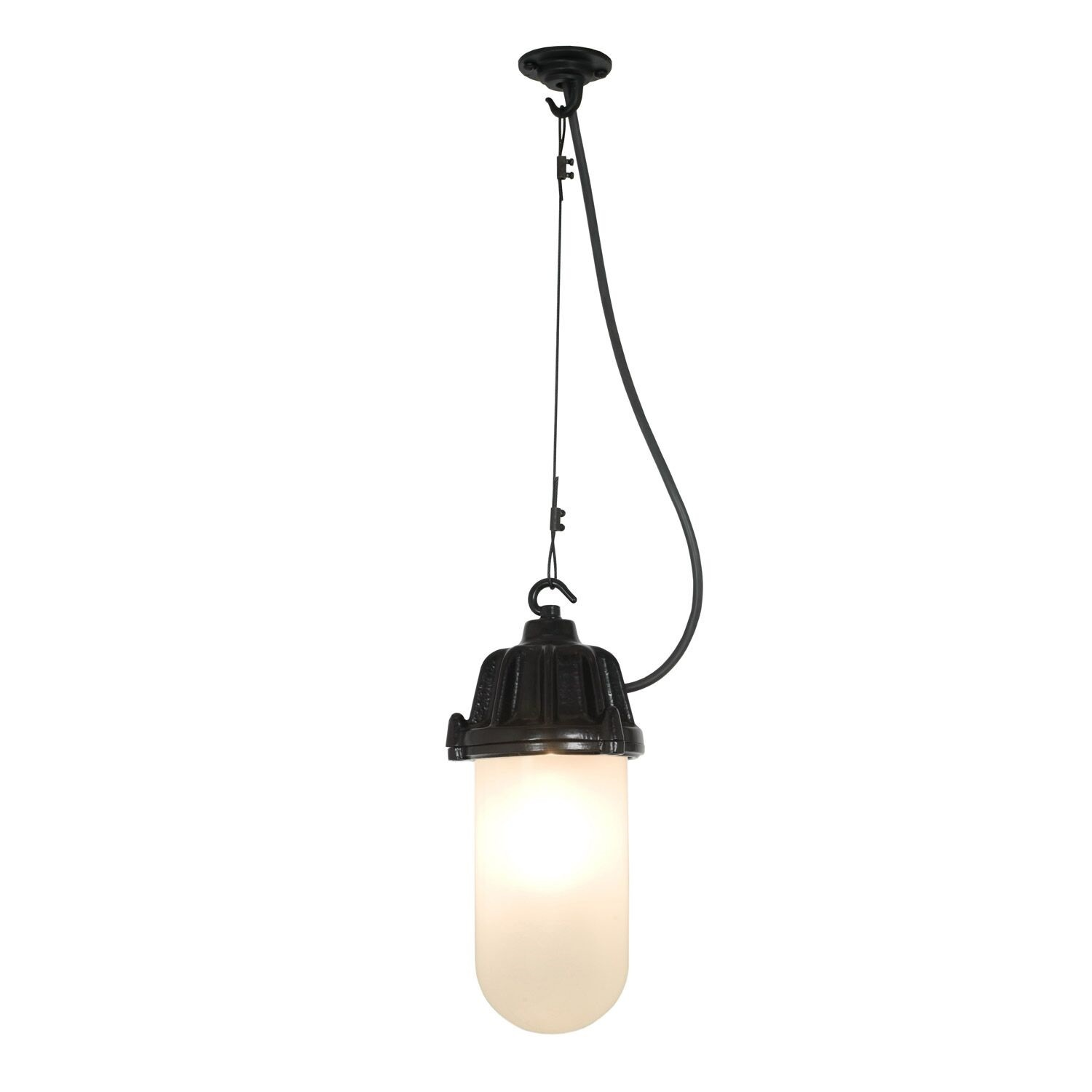 Dockside Pendant Light 7674 Black, Frosted glass