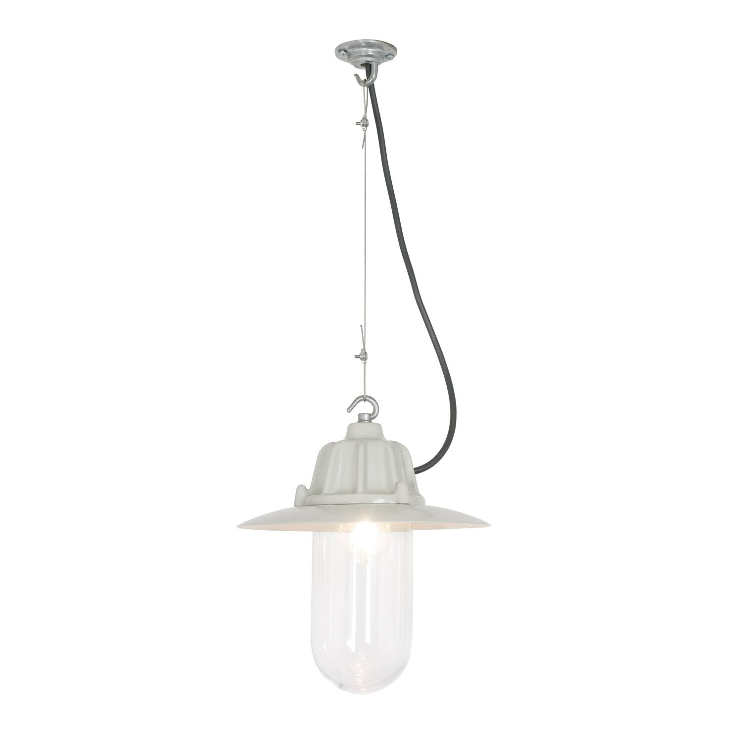 Dockside Pendant Light 7675 Putty grey, Clear glass