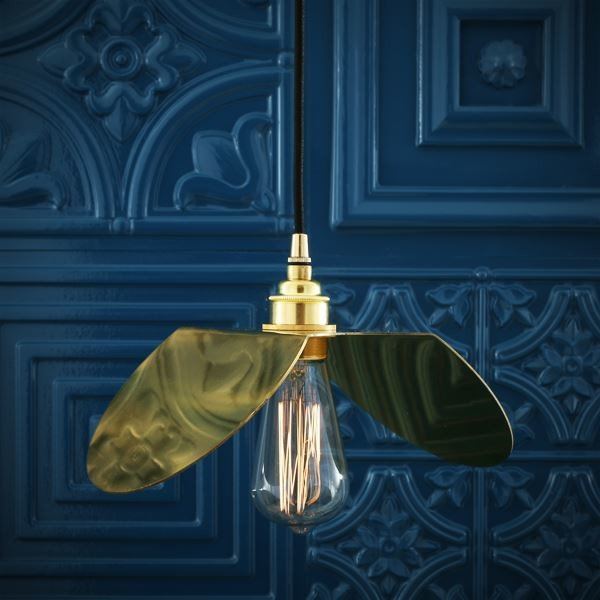 Dodoma Pendant Light Polished Brass Black Cable