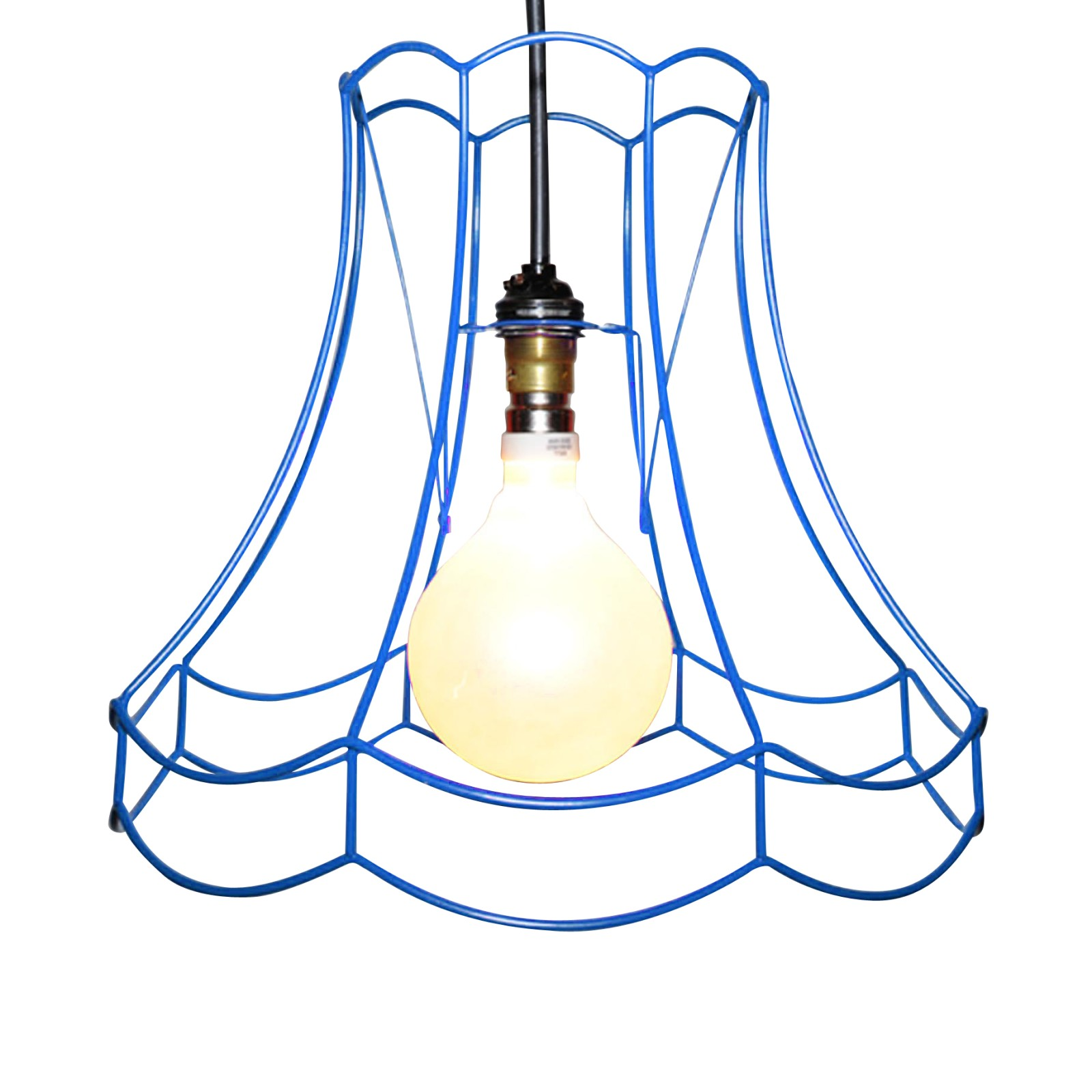 "Double Scallop Skeleton Lampshade 12"", Blue"
