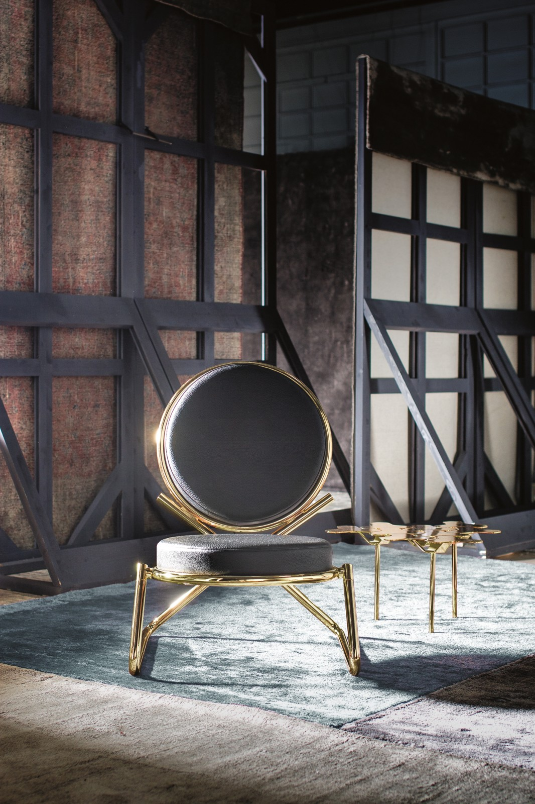 Double Zero Armchair A4500 - Art.48045 - 206 beige, Shiny Black