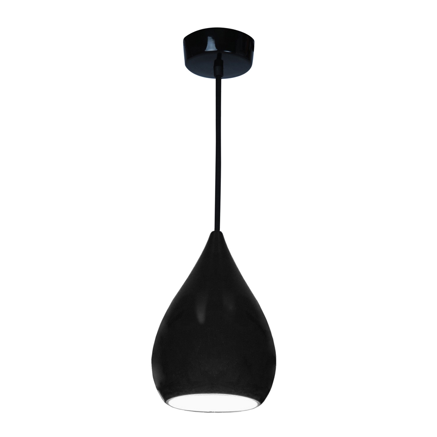 Drop One Pendant Light Black Gloss, Medium