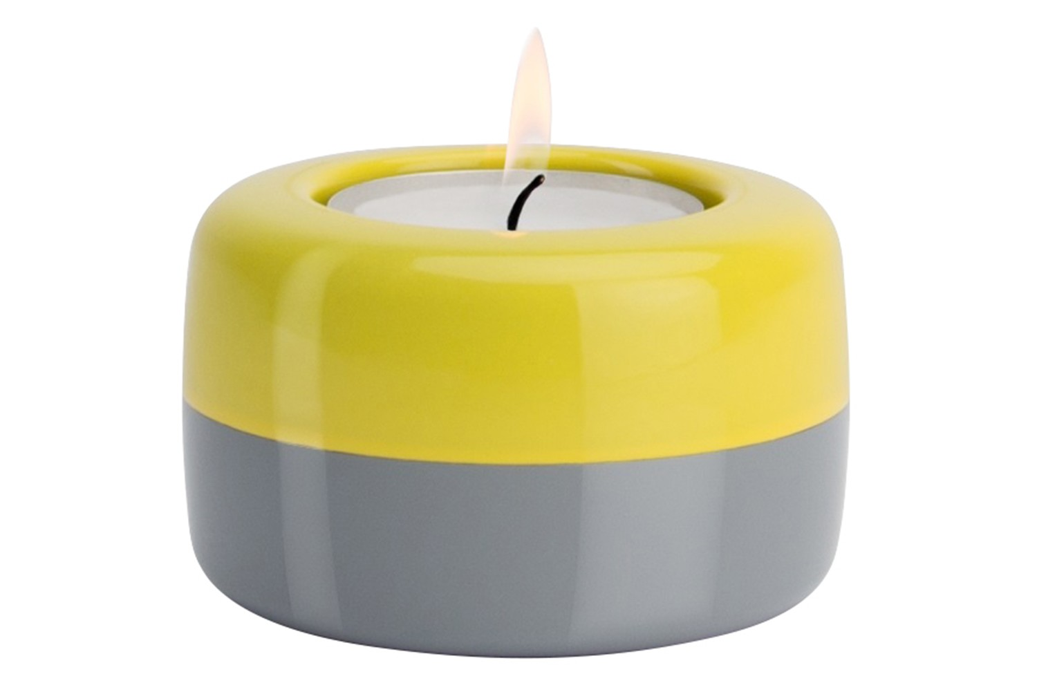 DUO Candle Holder Yellow & Grey