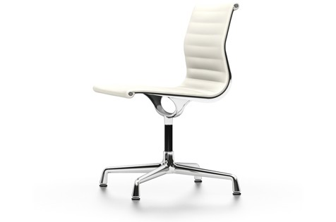 EA 101 Aluminum Chairs - Swivel, Without Armrests 04 Glides for carpet, Leather 72 snow, chromed alu