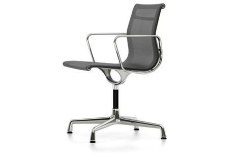 EA 103 Aluminum Chairs - Non Swivel, With Armrests 04 Glides for carpet, Netweave 05 dark grey, chro