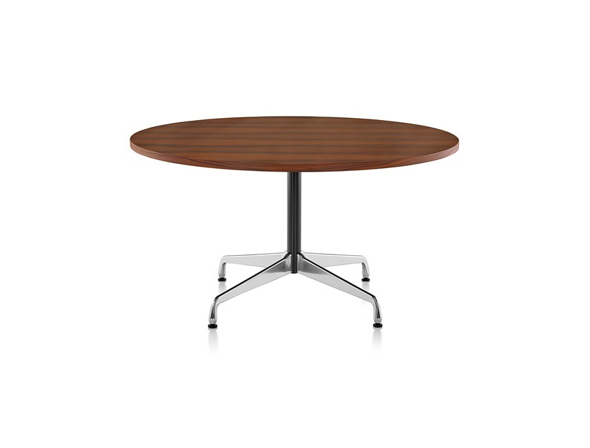 Eames Round Table - 5 Seats White laminate / plastic edge black, Feet chrome / central column basic