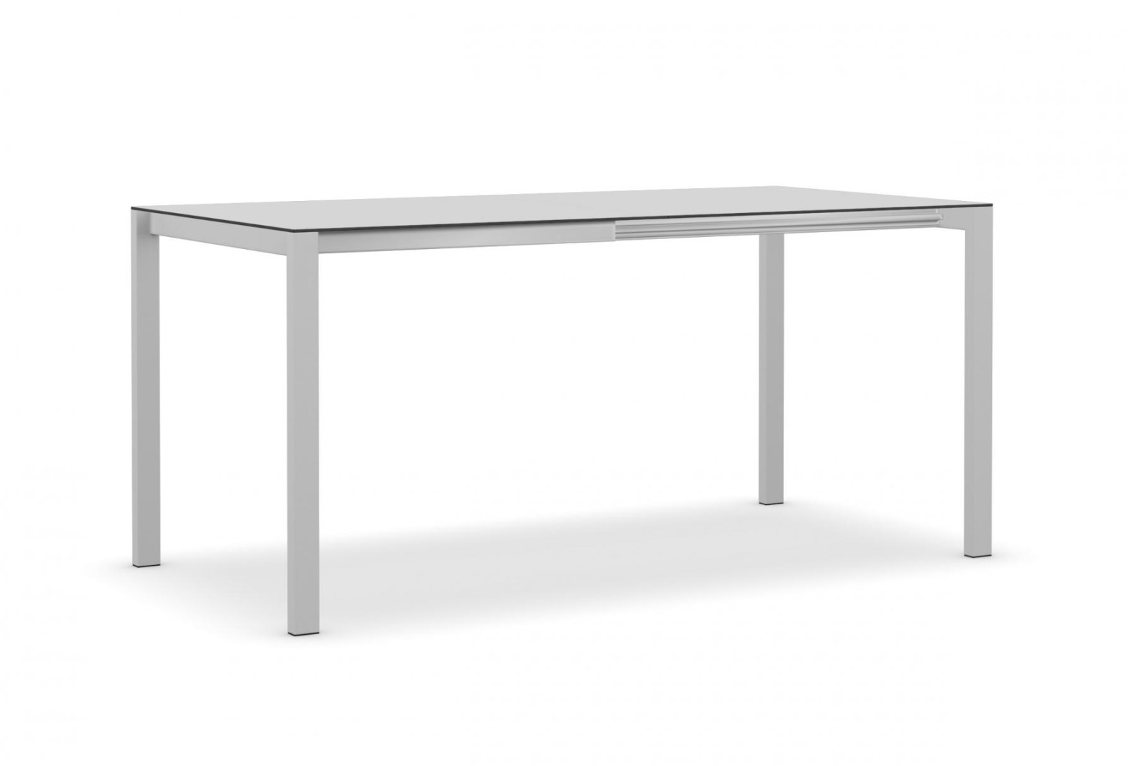 Easy Extendable with folding extension White with black edge, Aluminium lacquered steel, White with