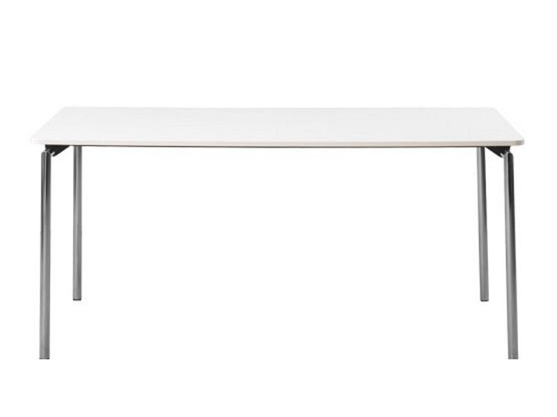 Easy - Rectangular Table Laminate Grey, Chrome Steel, Straight - Round Corners