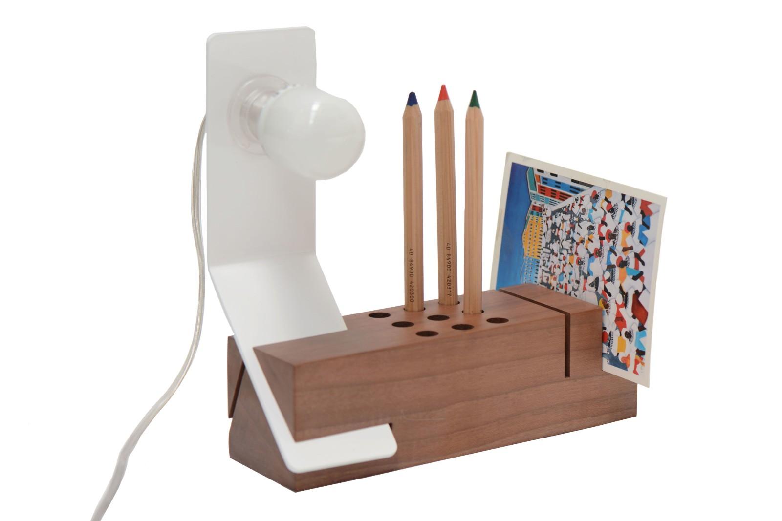 Edi Desk Lamp White, Walnut