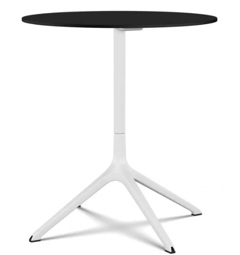 Elephant Round Table, Tip-up Top White, Black, 69 x 76cm