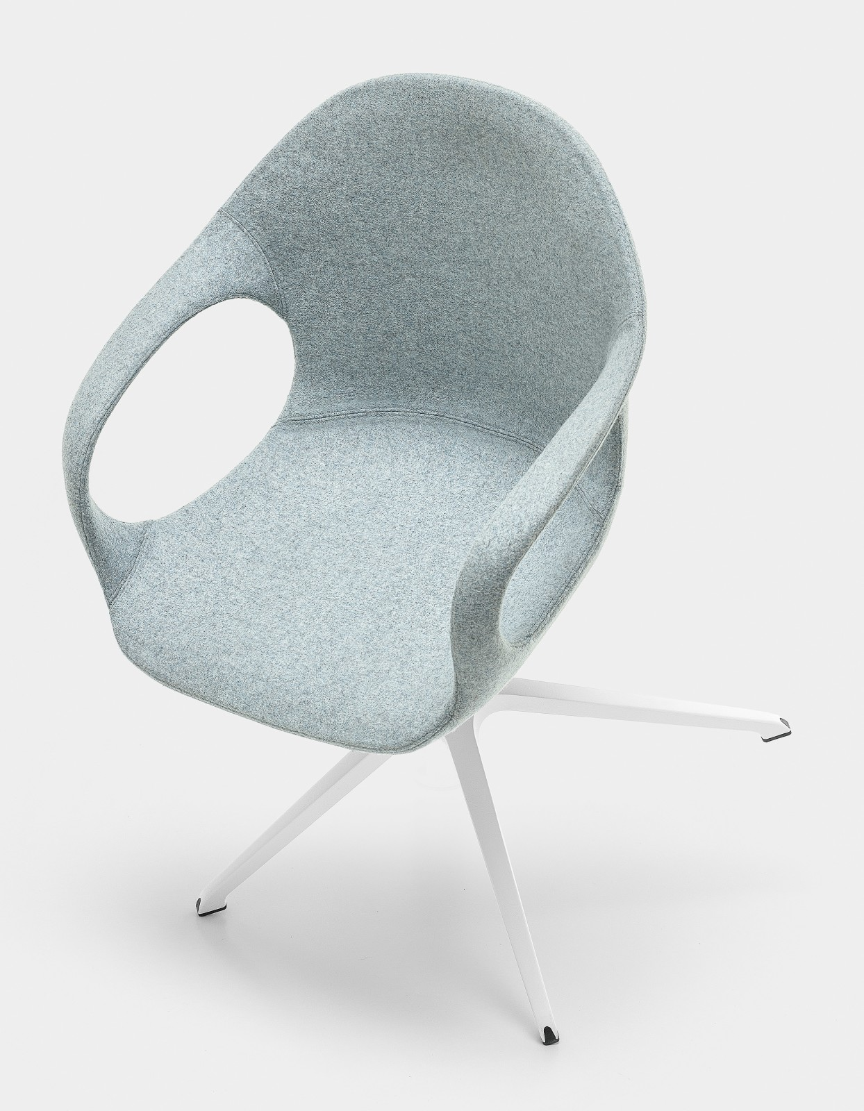 Elephant Swivel Trestle Armchair - Upholstered Seat Lacquered Steel White, Divina MD 813