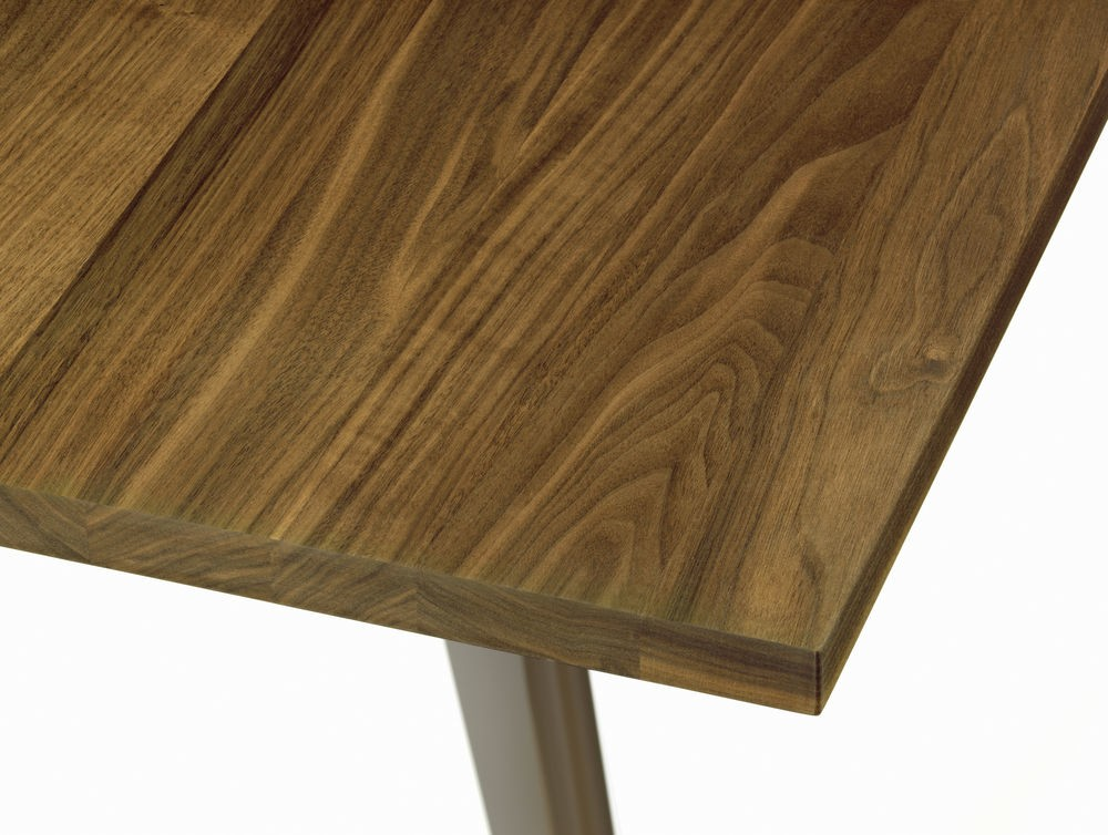 EM Wood Table 74 x 90 x 180 cm, solid american walnut oiled, 40 chocolate powder-coated (smooth)