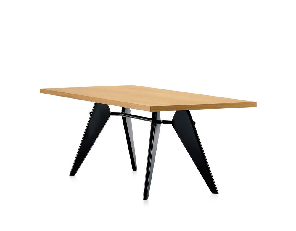 EM Wood Table 74 x 90 x 180 cm, solid oak natural oiled, 12 deep black powder-coated (smooth)