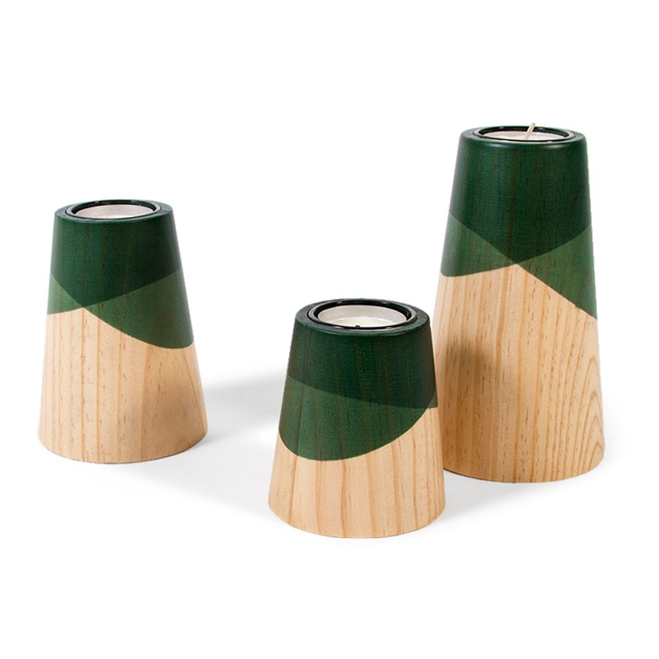 Etna Mini Candle Holders Green