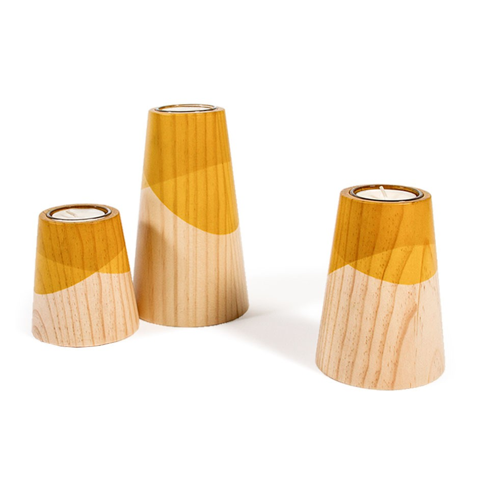 Etna Mini Candle Holders Yellow