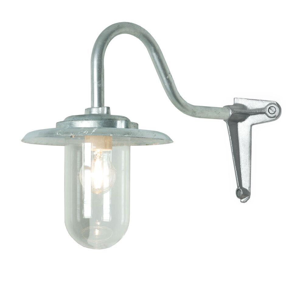 Exterior Bracket Light, 100W, Corner 7677 Galvanised Silver, Clear Glass