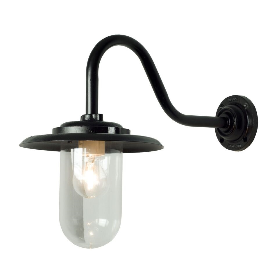 Exterior Bracket Light, 100W, Swan Neck 7677 Black, Clear Glass