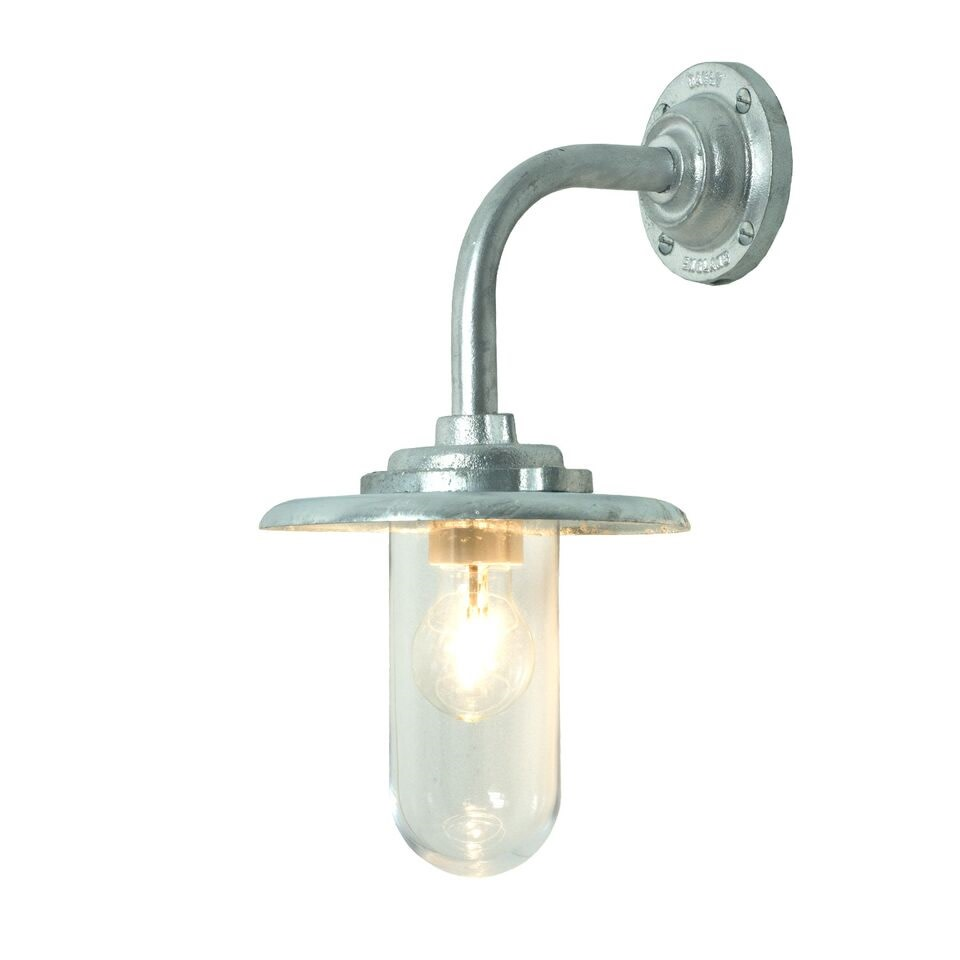 Exterior Bracket Light, 60W, Round 7677 Galvanised silver, Clear glass