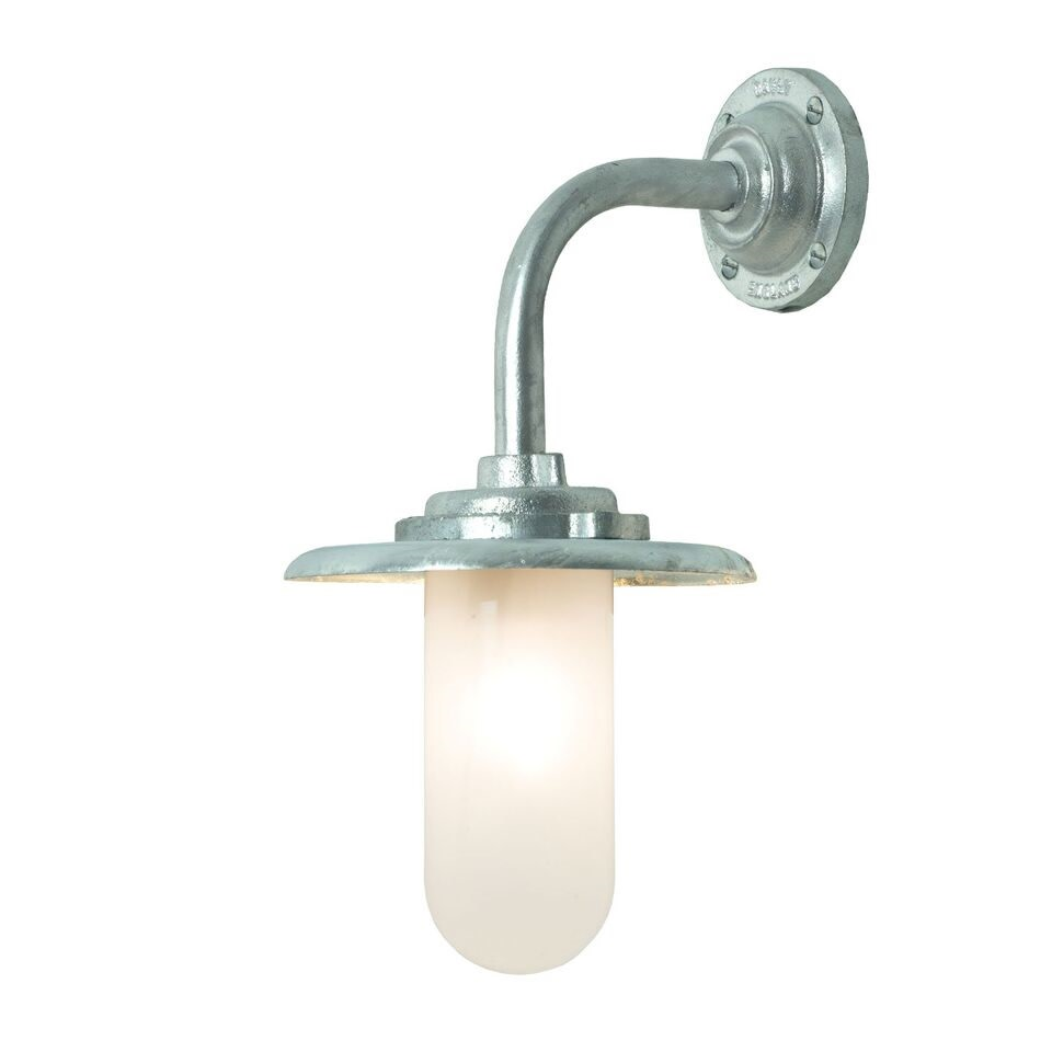 Exterior Bracket Light, 60W, Round 7677 Galvanised silver, Frosted glass