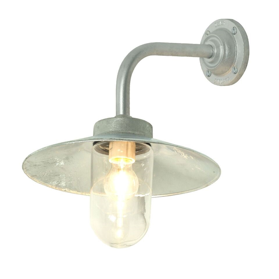 Exterior Bracket Light, Right Angle, Round 7680 Gunmetal, Clear Glass