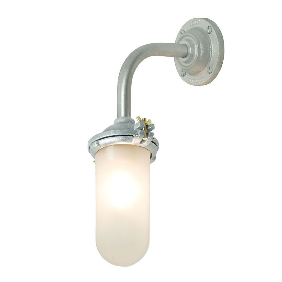 Exterior Bracket Light, Right Angle, Round 7684 Galvanised Silver, Frosted Glass