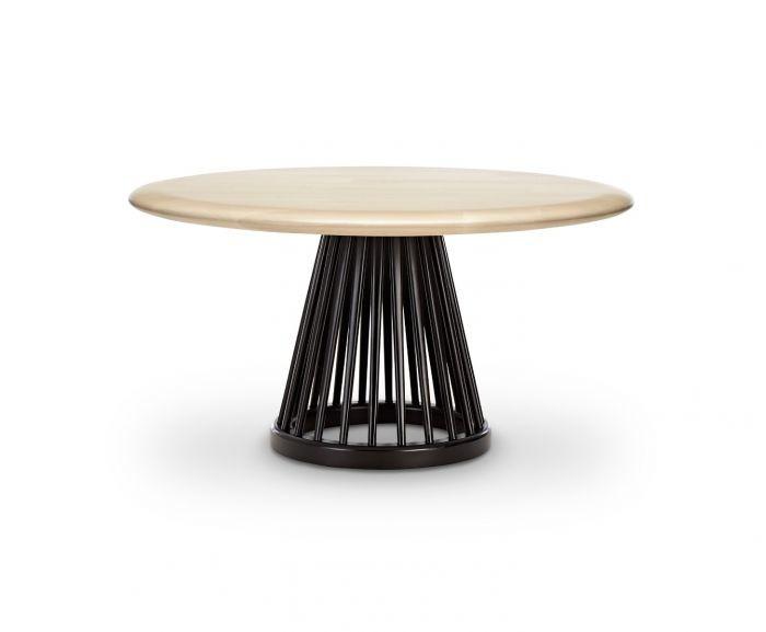 Fan Table Black Base, Natural Oak Top, 90cm