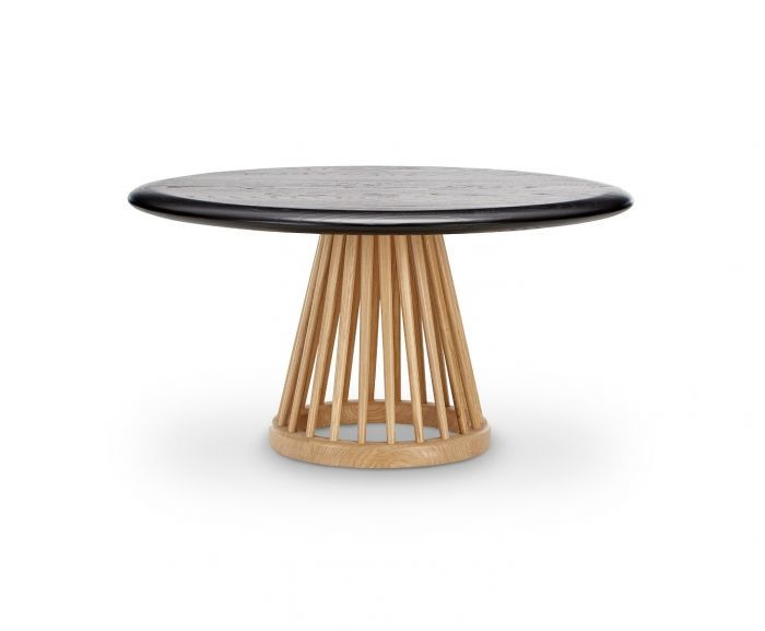 Fan Table Natural Base, Black Oak Top, 90cm