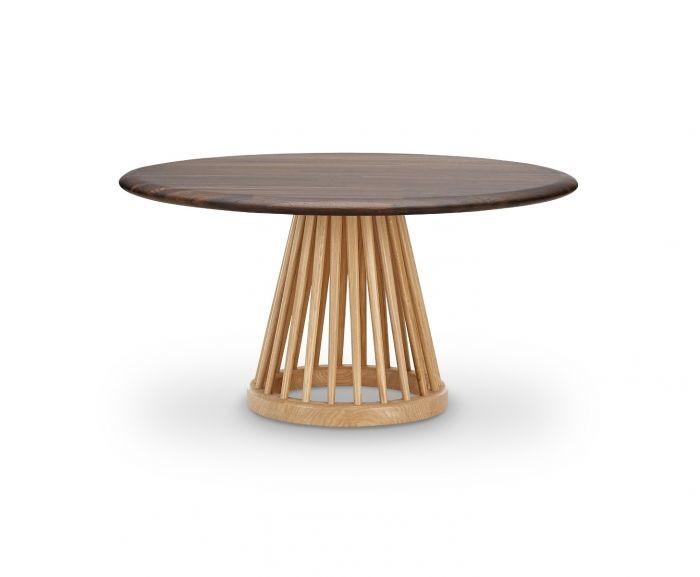 Fan Table Natural Base, Fumed Oak Top, 90cm