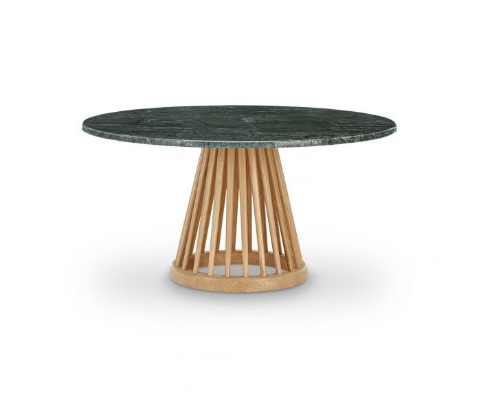 Fan Table Natural Base, Green Marble Top, 90cm