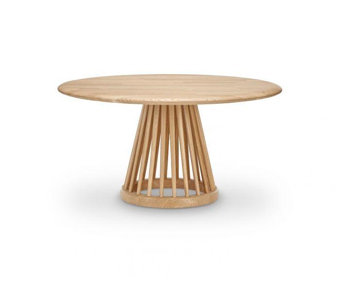 Fan Table Natural Base, Natural Oak Top, 90cm