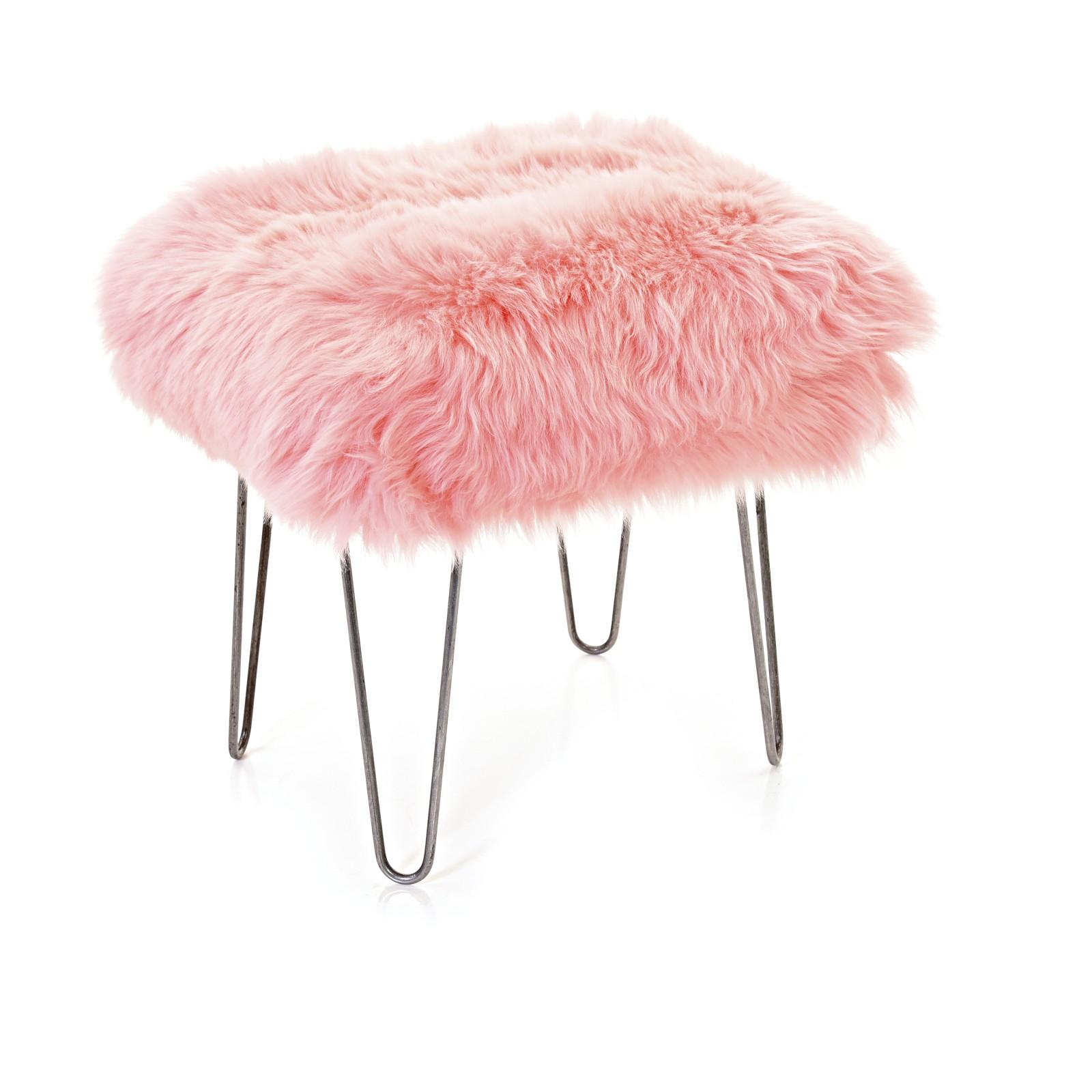 Ffion Sheepskin Footstool Baby Pink