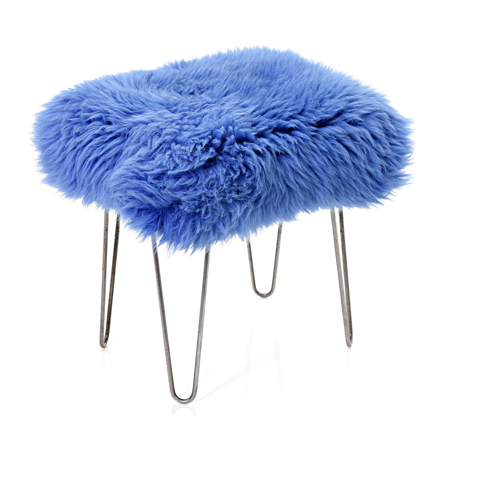Ffion Sheepskin Footstool Cornflower Blue