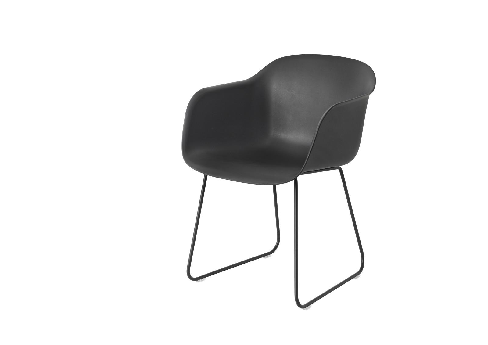 Fiber Armchair Sled Base Black/Black