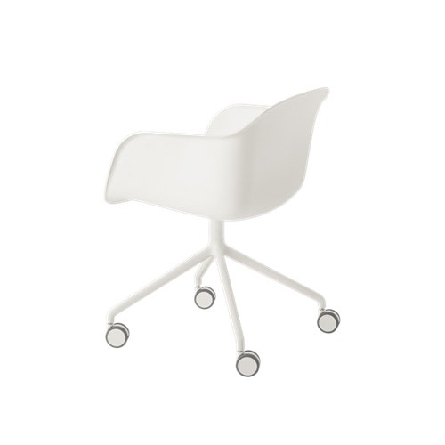 Fiber Armchair Swivel Base With Castors Natural White / White