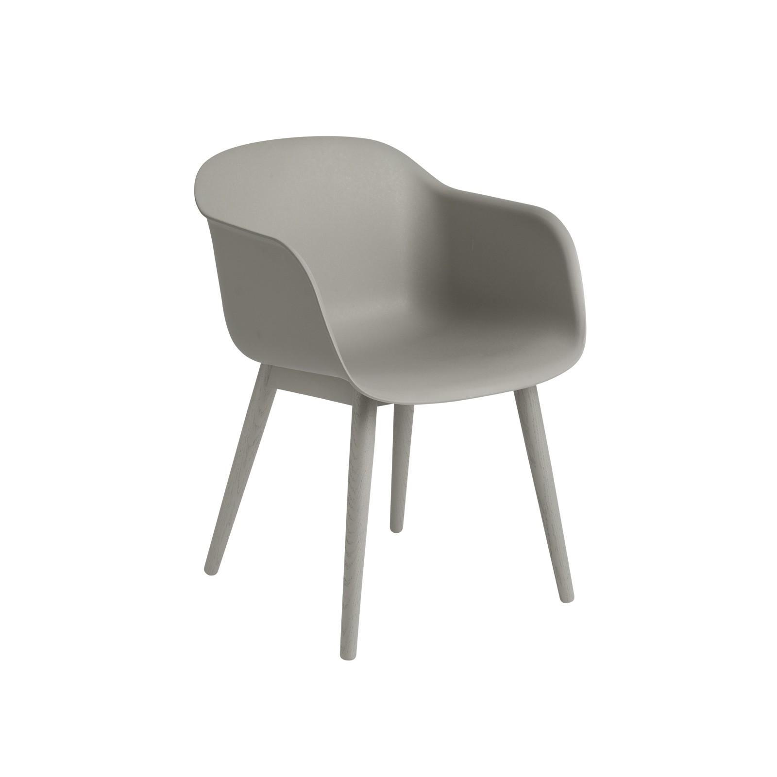 Fiber Armchair Wood Base Grey / Grey