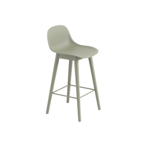 Fiber Bar Stool With Backrest Wood Base - Unupholstered Dusty Green/Dusty Green, 65