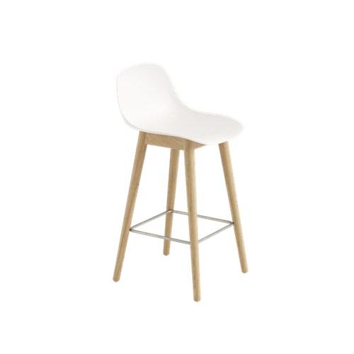 Fiber Bar Stool With Backrest Wood Base - Unupholstered Natural White/Oak, 65