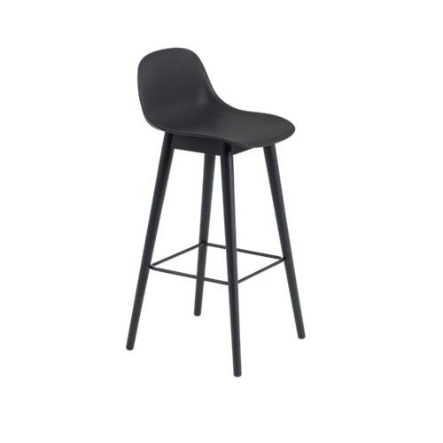 Fiber Bar Stool With Backrest Wood Base Black/Black, 75