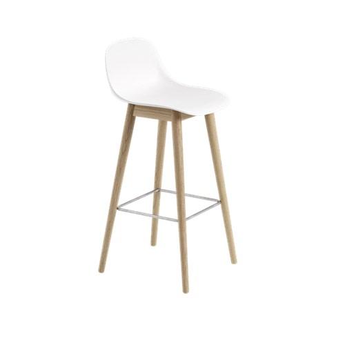 Fiber Bar Stool With Backrest Wood Base - Unupholstered Natural White/Oak, 75