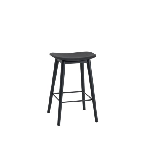 Fiber Bar Stool Wood Base - Unupholstered 65, Black/Black