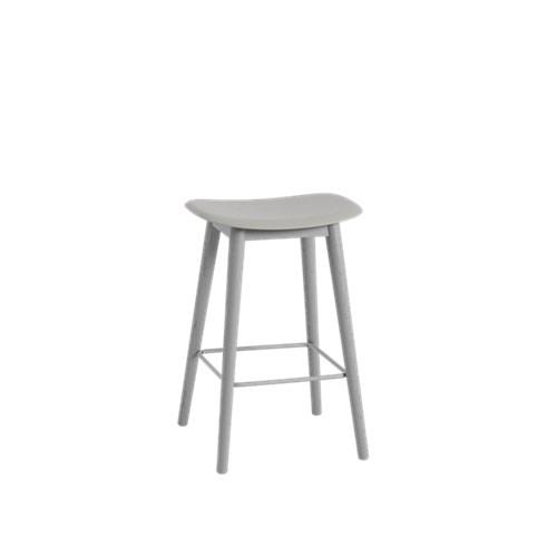 Fiber Bar Stool Wood Base - Unupholstered 65, Grey/Grey