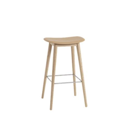 Fiber Bar Stool Wood Base - Unupholstered 75, Ochre/Oak