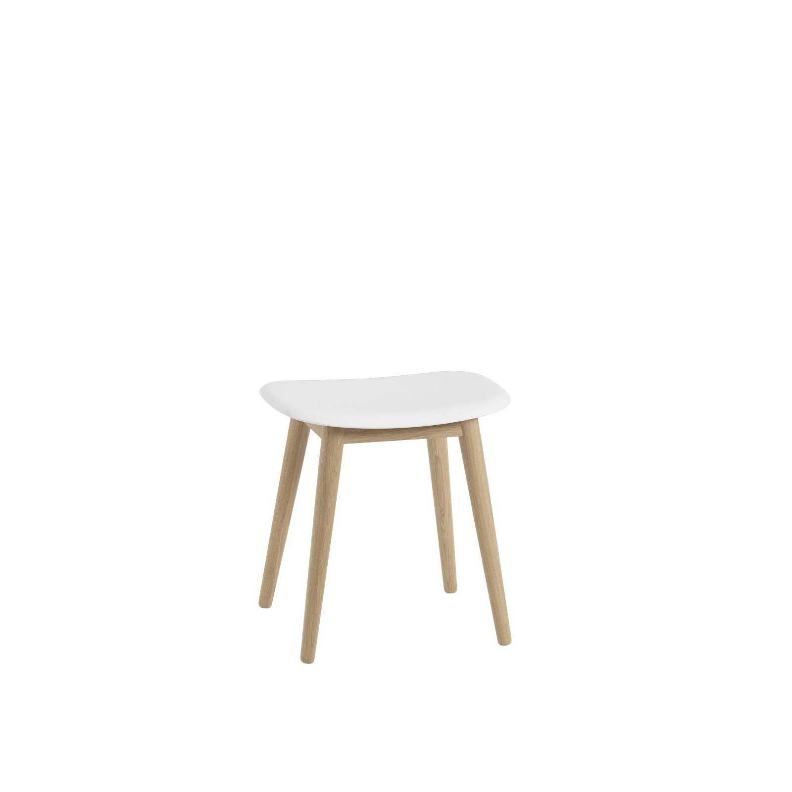 Fiber Stool Wood Base - Unupholstered Natural White/Oak