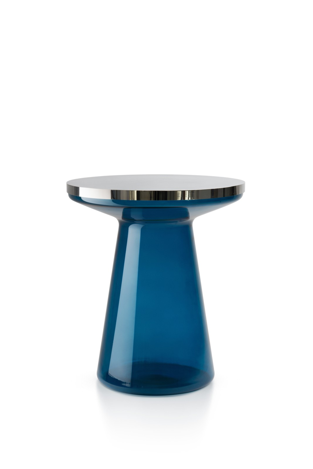 Figure Side Table Blue & Polished stainless steel